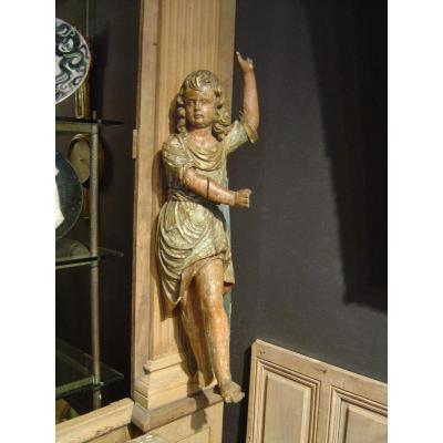 Enfant En Bois Sculpté Polychrome