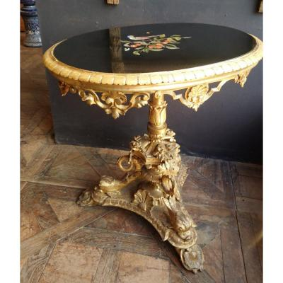 Pedestal In Golden Wood And Marble Marquetry, Italy, Nineteenth Time