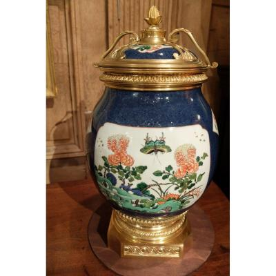 Grand Vase Covered Porcelain Mounted Bronze, Nineteenth Time