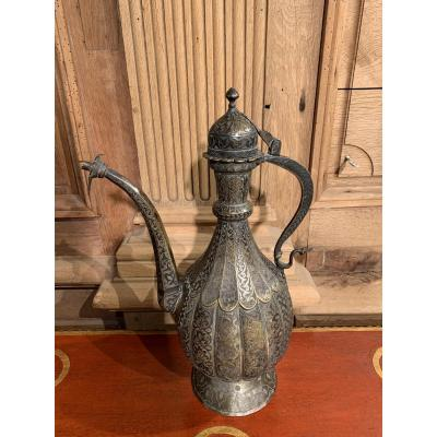Ottoman Ewer In Brass And Copper With Silver Niello Decor. Nineteenth