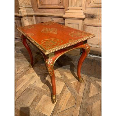 18th Century Lacquered And Gilded Wood Living Room Table