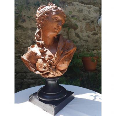 Bust Of Woman In Terracotta Signed F Ferguson