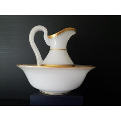 White And Gold Opaline Toilet Bowl And Pitcher