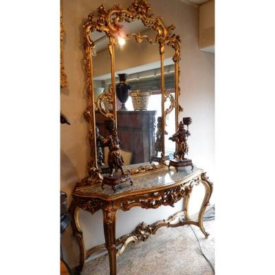 Console And Its Mirror In Golden Wood. Ref: 226.