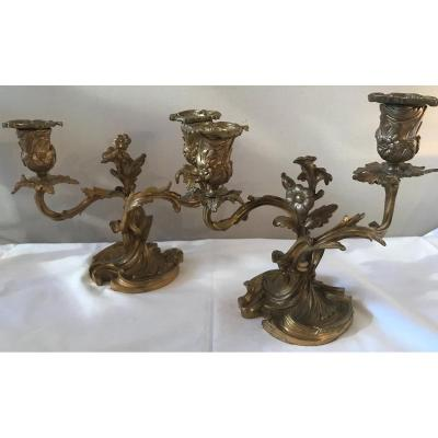Pair Of Small Bronze Candlesticks With 2 Arms Of Lights. Ref: 260