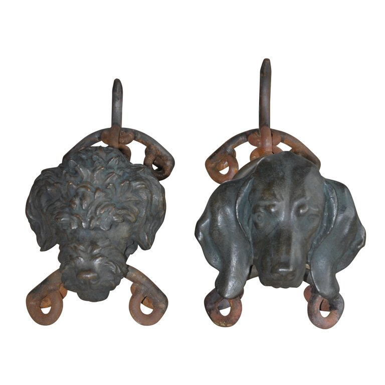Pair Of Bronze Andirons Signed Dupond