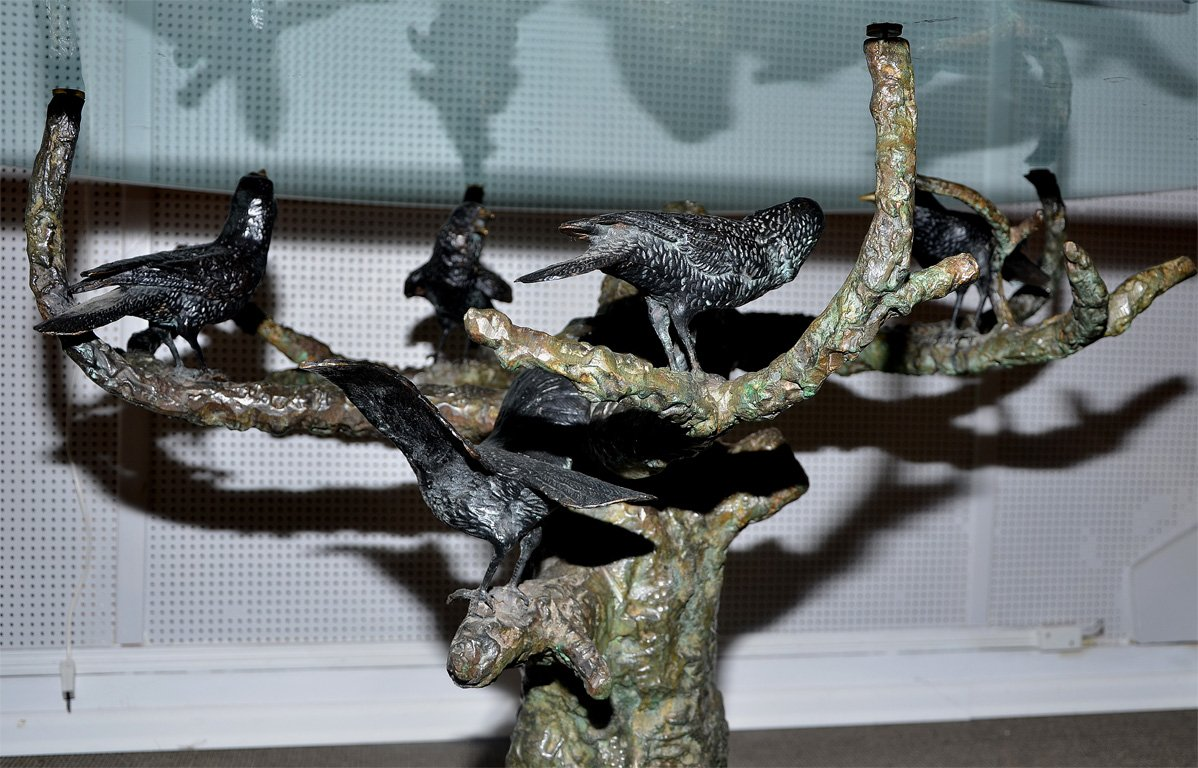 Bronze Dinning Table Showing Birds Signed Valenti-photo-3