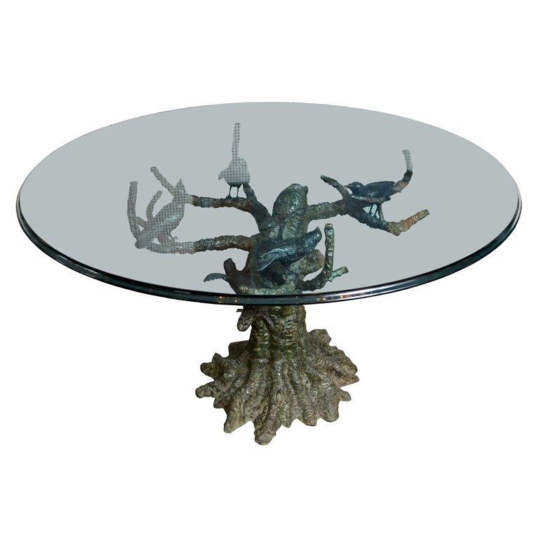 Table de salle à manger en bronze signée Valenti