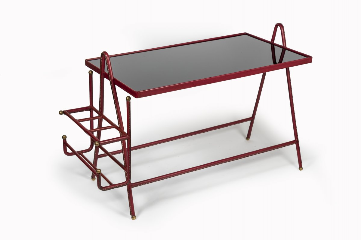 Leather Sheathed Coffee Table By Jacques Adnet