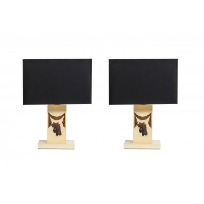 Pair Of Lamps Sheathed Parchment With Marquetry
