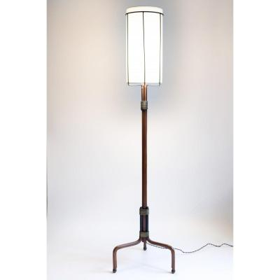 Stitched Leather Floor Lamp By Jacques Adnet