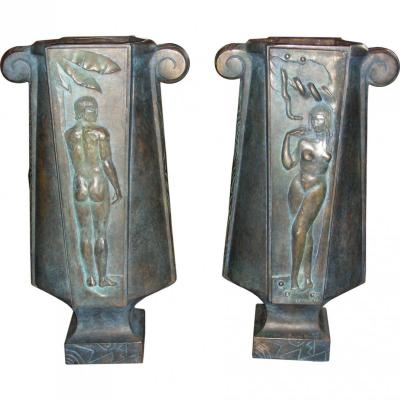 Pair Of 1930's Urnes Lamps By Louis Rigal Sculptor For Jacques Emile Ruhlmann
