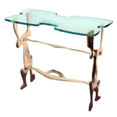 Rare Polished Bronze Console By Leon Calderi