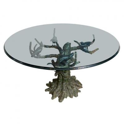 Bronze Dinning Table Showing Birds Signed Valenti