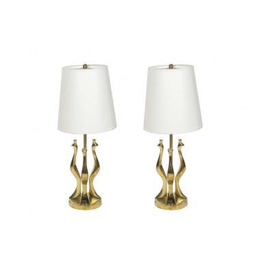 Paire de lampes en bronze poli par Riccardo Scarpa