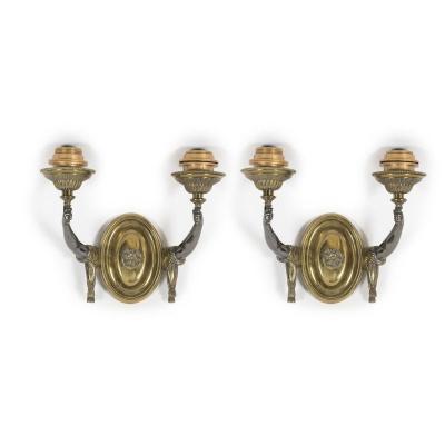 Paire d'Appliques En Bronze Vers 1940 Attribué à La Maison Jansen