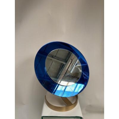 Miroir De Table en Verre Bleu Par Fontana Arté
