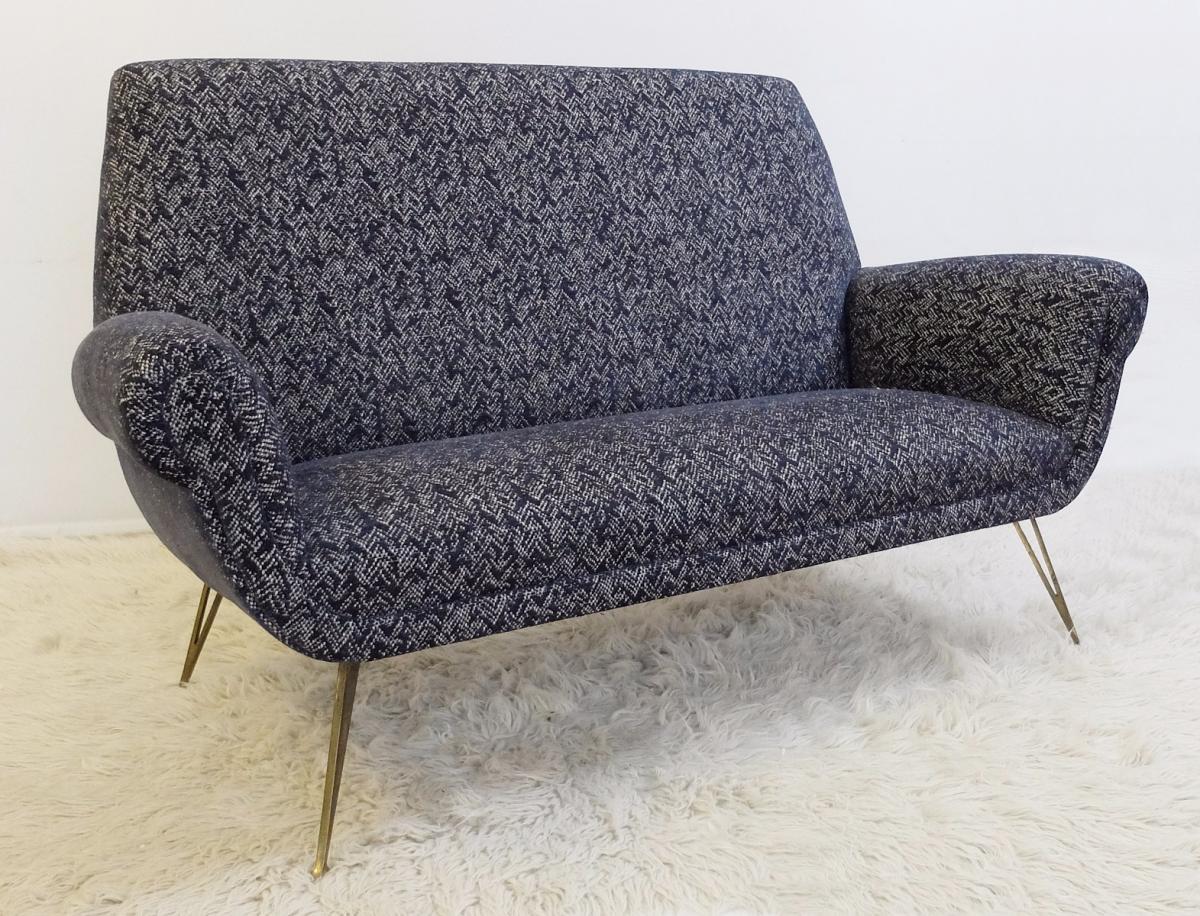 Sofa Italien Des Années 60 - Entièrement Recouvert -photo-1