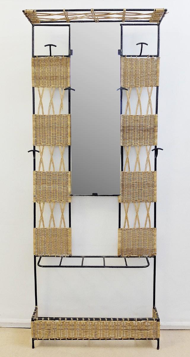 Porte Manteau En Rotin Tissé Et Métal Noir Avec Miroir
