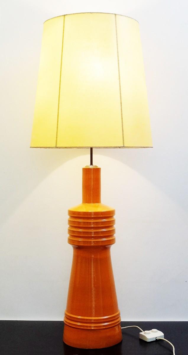Grande Lampe De Table En Céramique Orange