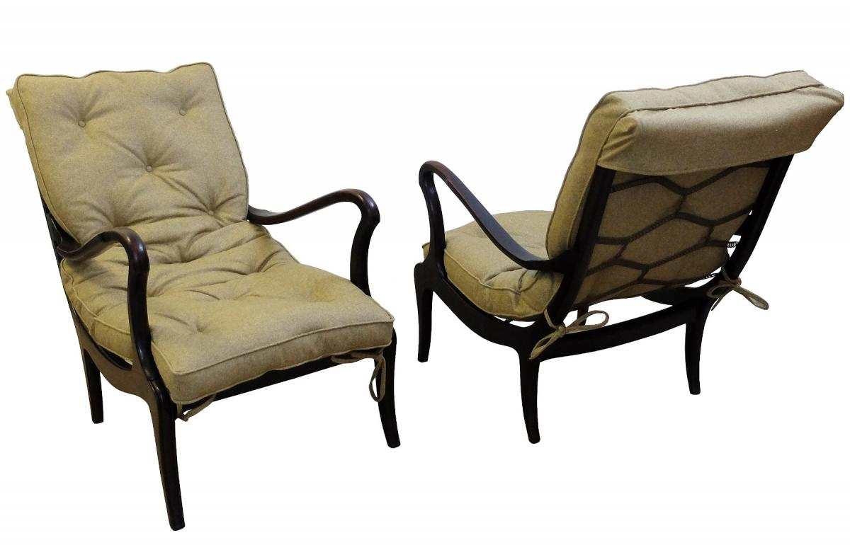 Pair Of Armchairs By Ezio Longhi - 1950, Newly Covered