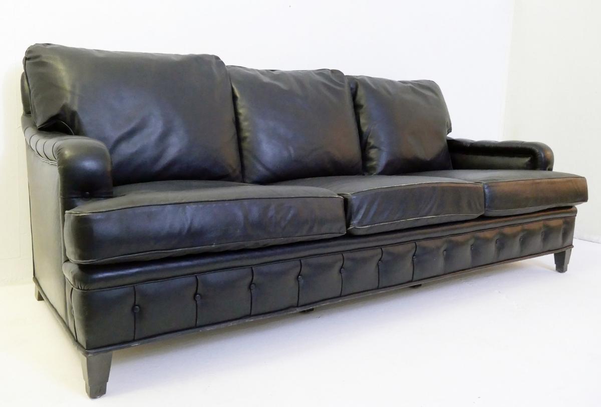 Canapé 3 Places En Cuir Noir