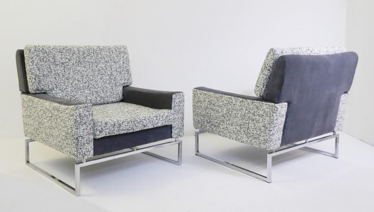 Pair Of Armchairs In Chrome '70 - New Upholstery