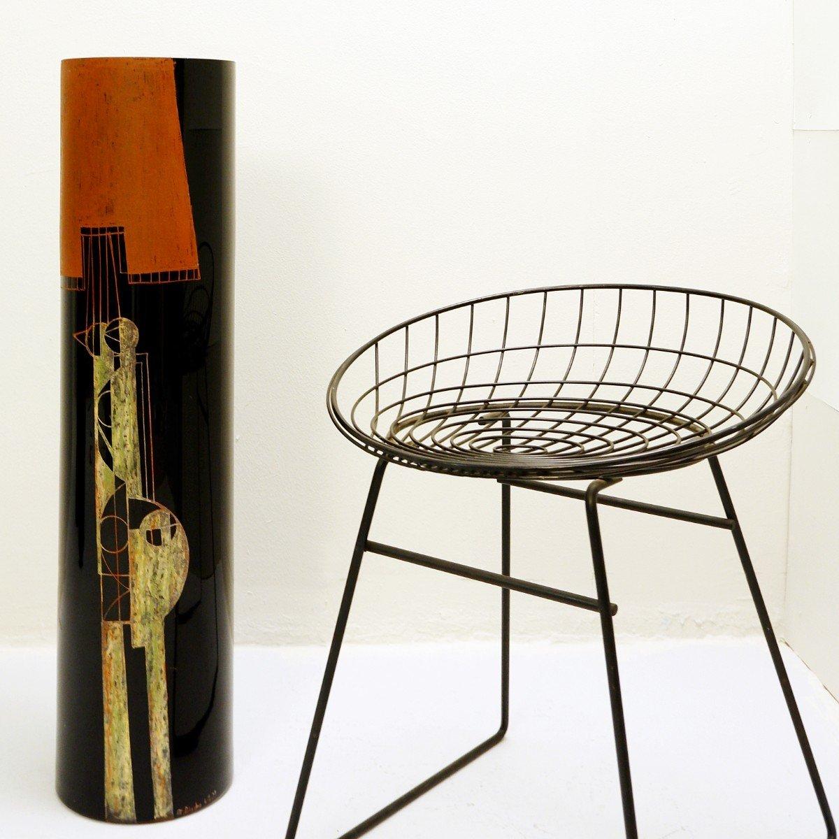 A. Riecke Vase Cylindrique En Verre Gravé Noir Signé Et Daté - 20ème Siècle