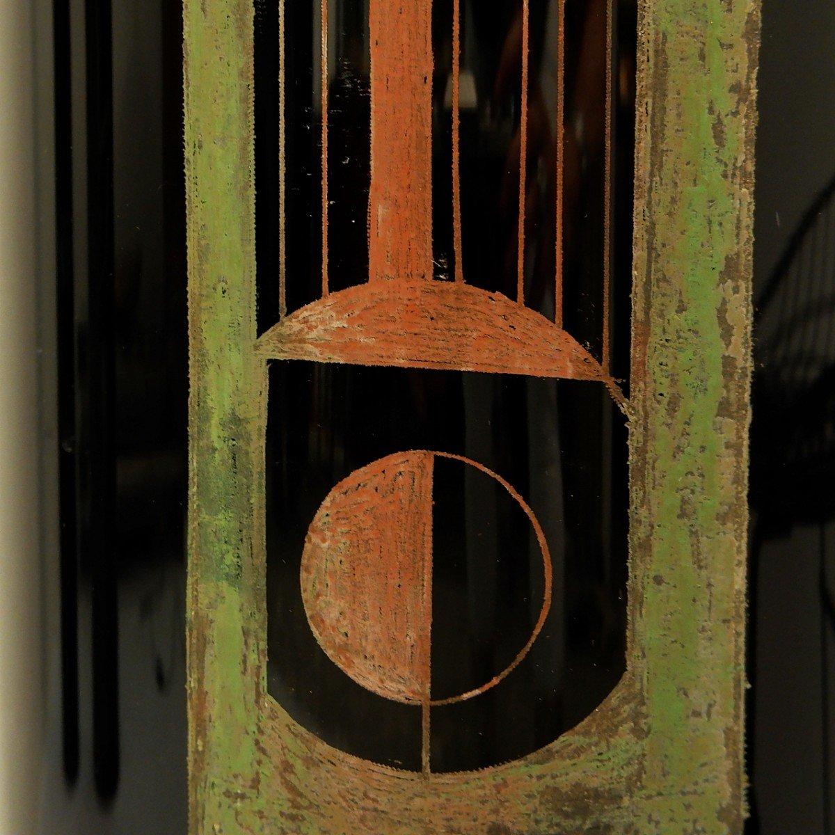 A. Riecke Vase Cylindrique En Verre Gravé Noir Signé Et Daté - 20ème Siècle-photo-2