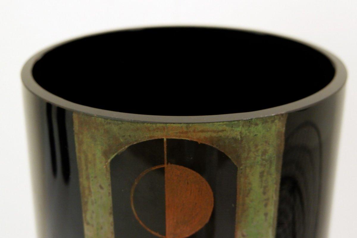 A. Riecke Vase Cylindrique En Verre Gravé Noir Signé Et Daté - 20ème Siècle-photo-3