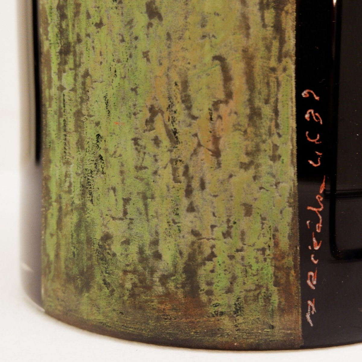 A. Riecke Vase Cylindrique En Verre Gravé Noir Signé Et Daté - 20ème Siècle-photo-4