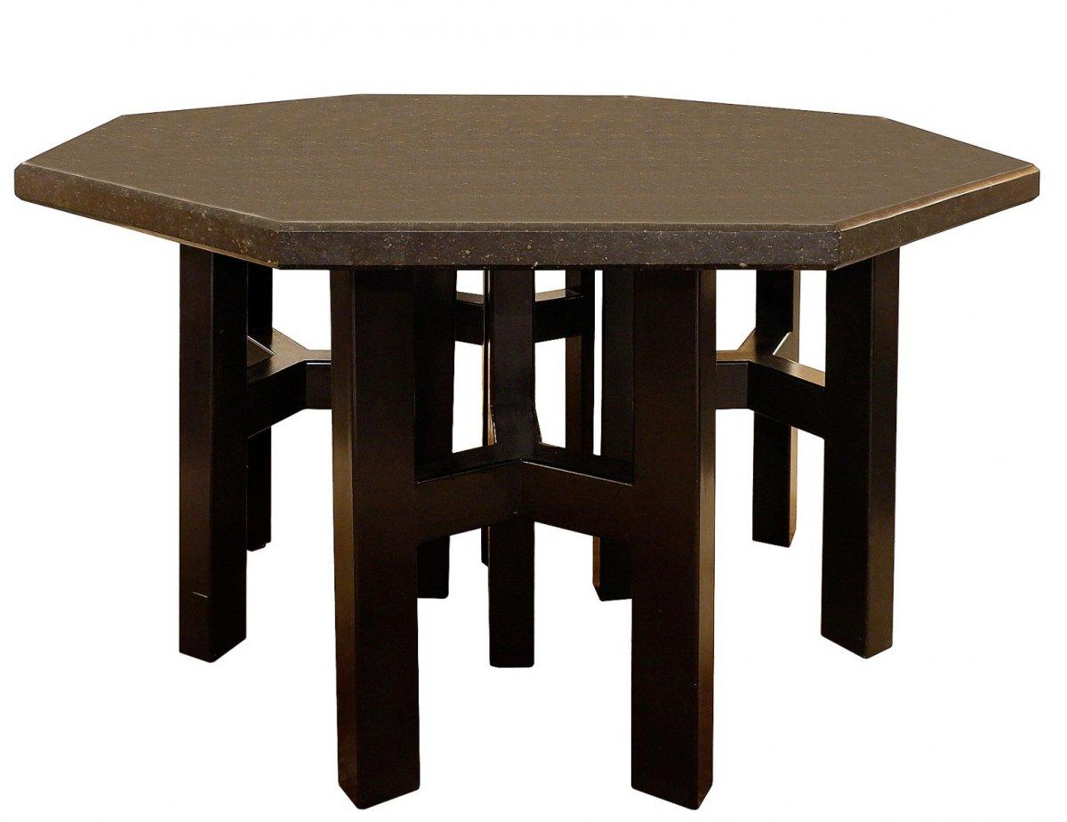 Table Hexagonale Avec Base En Acier Émaillé d'Ado Chale Et Plateau En Pierre Bleue Belge