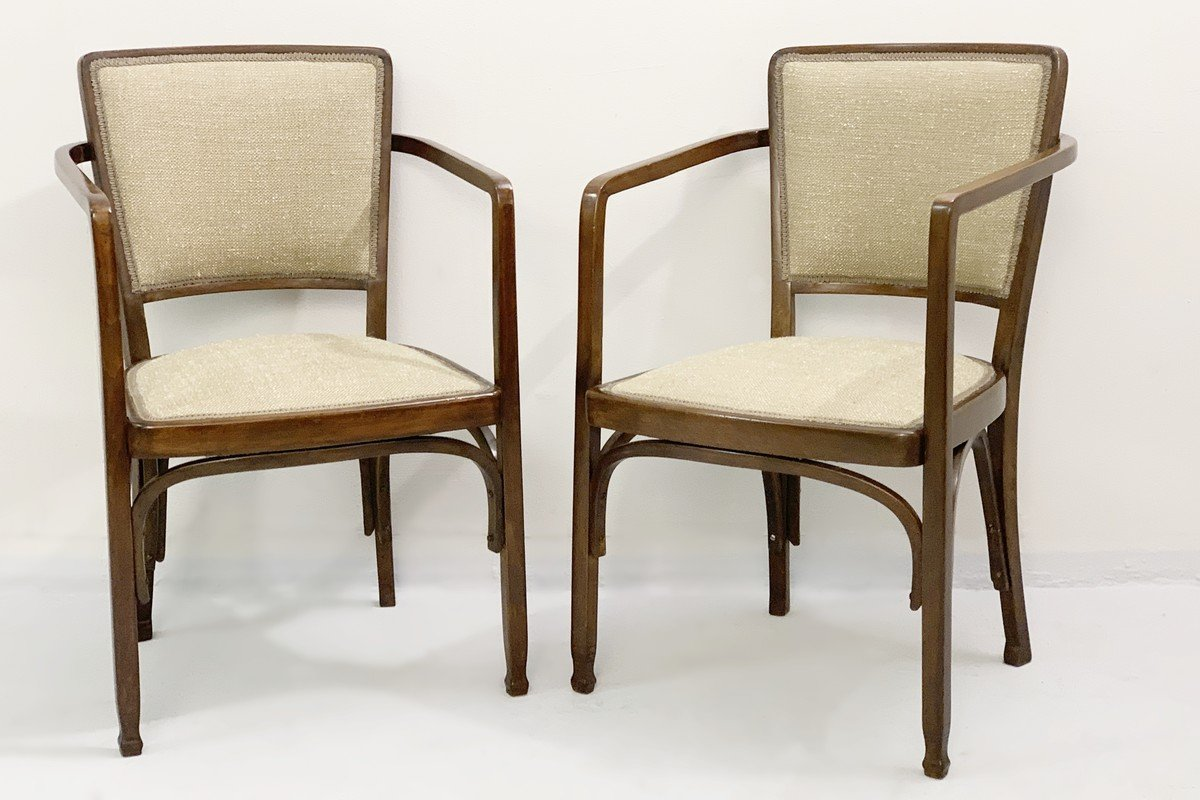 Pair Of Gustave Siegel Chairs For J & J Kohn - Secession Viennoise
