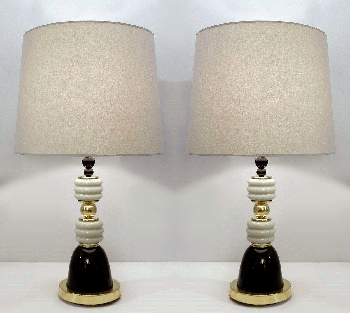 Paire De Lampes De Bureau Italiennes En Laiton Et Verre Gris / Noir