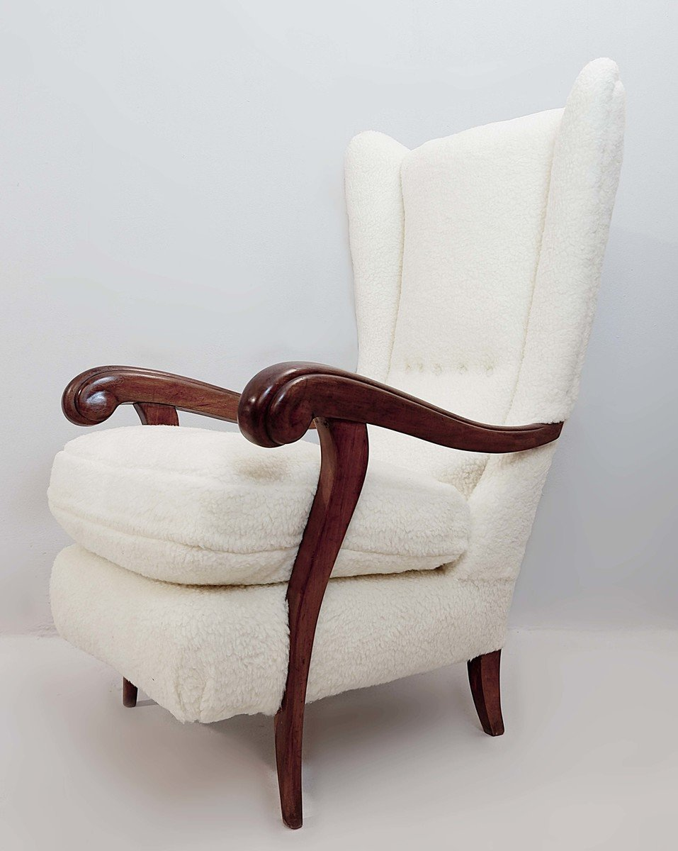 Faux Fur Upholstered Wingback Armchair