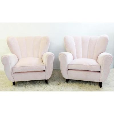 Pair Of Italian Armchairs - Fully Covered