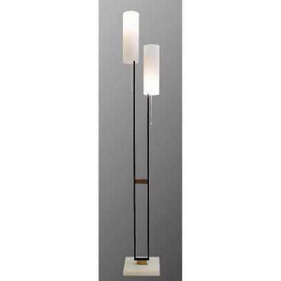 Floor Lamp In Marble, Enamelled Steel And Plexiglass