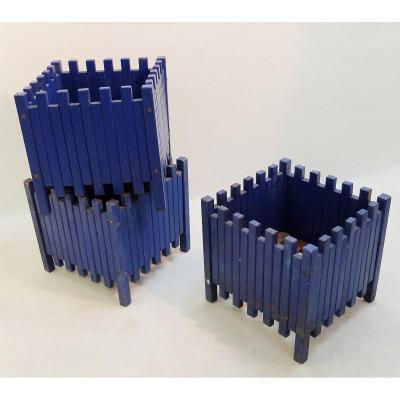 Ettore Sottsass Set De Trois Jardinières Bleues Pour Poltronova, 1961