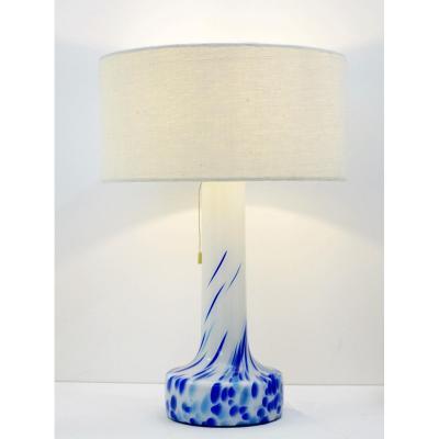 Lampe De Table En Verre Blanc Et Bleu