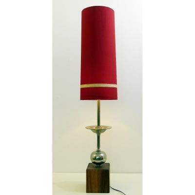 Lampe De Table Longue En Chrome Et Bois Avec Abat-jour d'Origine