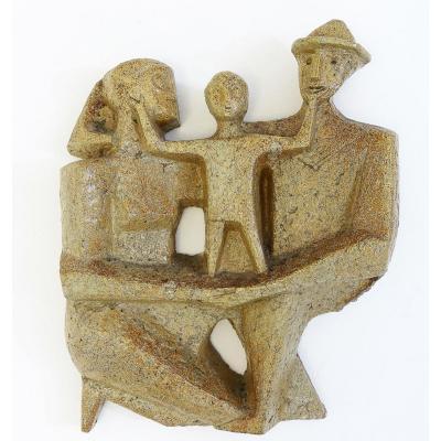 """Sculpture En Terre Cuite émaillée """"couple Avec Enfant"""""""