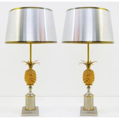 Paire De Lampes Ananas De Style Maison Jansen