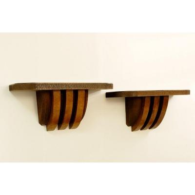 Pair Of Large Wooden Wall Consoles From Pier Luigi Colli - Italy, 1950