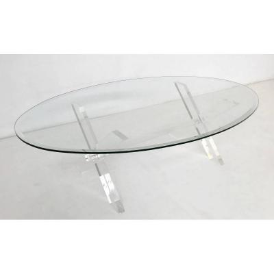 Coffee Table In X Lucite And Oval Glass