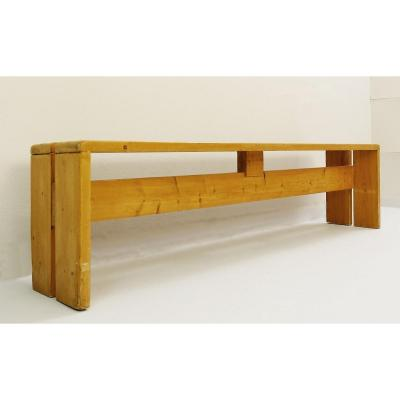 Les Arc - Pine Bench By Charlotte Perriand, 1960s