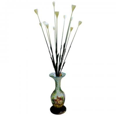 Lampadaire Fleurs Vase En Céramique Italienne