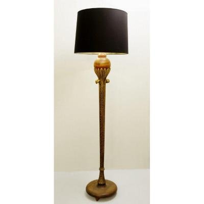Floor Lamp In Golden Wood By Alfred Chambon - 1930
