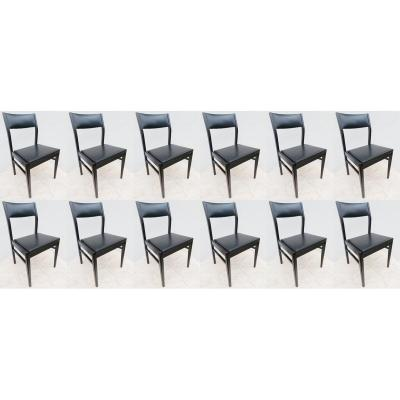 Suite Of 12 Chairs In Black And Black Lacquered Faux Leather - 1970s