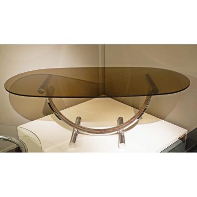 Table Basse Arc Attribuée Au Dessus Ovale En Verre Fumé Romeo Rega - 1970