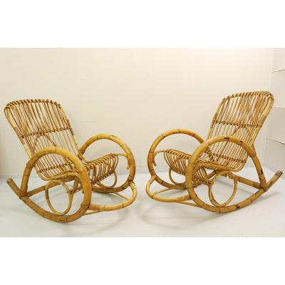 Rattan Rocking Chair By Rohe Noordwolde - One Pair Available